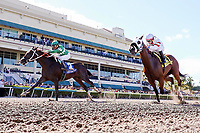 HALLANDALE BEACH, FL - JULY 01:  #3 Three Rules with Cornelio Velasquez up are alone at the wire to win the Carry Back Stakes (G3) at Gulfstream Park. Hallandale Beach, FL. (Photo by Arron Haggart/Eclipse Sportswire/Getty Images)