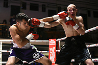 Ramez Mahmood (purple shorts) defeats Aleksandrs Birkenbergs during a Boxing Show at York Hall on 3rd March 2018