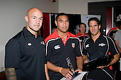 Under 18's  Player of the Year Bruce Kaino with DJ Forbes & Chad Tuoro. Counties Manukau Rugby Union Junior representative prize giving held at Growers Stadium on Monday October 20th 2008.