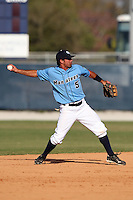 SCF Manatees second baseman Colton Speed #5 during a game vs. Indian River State College at Robert C. Wynn Field in Bradenton, Florida;  February 22, 2011.  SCF defeated Indian River 3-0.  Photo By Mike Janes/Four Seam Images