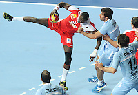 18.01.2013 Barcelona, Spain. IHF men's world championship, prelimanary round. Picture show Mohamed Sfar   in action during game between Arnetina vs Tunisia at Palau St Jordi
