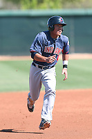 Yu-Cheng Chang #9 of the Cleveland Indians runs the bases during a Minor League Spring Training Game against the Los Angeles Dodgers at the Los Angeles Dodgers Spring Training Complex on March 22, 2014 in Glendale, Arizona. (Larry Goren/Four Seam Images)