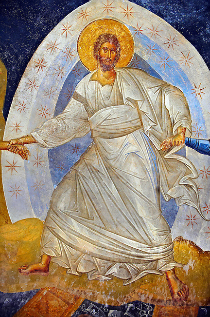 The 11th century Roman Byzantine Church of the Holy Saviour in Chora and its Anastasis fresco of Jesus Christ in the parecclesion chapel Endowed between 1315-1321 by the powerful Byzantine statesman and humanist  Theodore Metochites. Kariye Museum  Istanbul