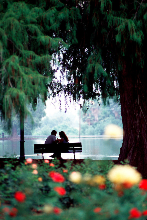 Romantic couple on park bench beside lake.