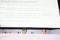 Mediendirektor Harald Stenger, Bundestrainer Joachim Loew und Nationalmannschafts-Manager Oliver Bierhoff mit dem vorlaeufigen EM-Aufgebot