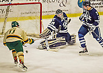 4 January 2014:  University of Vermont Catamount Forward H.T. Lenz, a Senior from Vienna, VA, is unable to net an overtime goal against Yale University Bulldog goaltender Alex Lyon, a Freshman from Baudette, MN at Gutterson Fieldhouse in Burlington, Vermont. With an empty net and seconds remaining, the Cats came back to tie the game 3-3 against the 10th seeded Bulldogs. Mandatory Credit: Ed Wolfstein Photo *** RAW (NEF) Image File Available ***