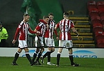 Regan Slater of Sheffield Utd  celebrates his goal during the Checkatrade Trophy match at Blundell Park Stadium, Grimsby. Picture date: November 9th, 2016. Pic Simon Bellis/Sportimage