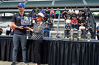 Verizon IndyCar Series<br /> Indianapolis 500 Drivers Meeting<br /> Indianapolis Motor Speedway, Indianapolis, IN USA<br /> Saturday 27 May 2017<br /> Winner's Drink Milk presentation to Alexander Rossi, Andretti Herta Autosport with Curb-Agajanian Honda<br /> World Copyright: F. Peirce Williams
