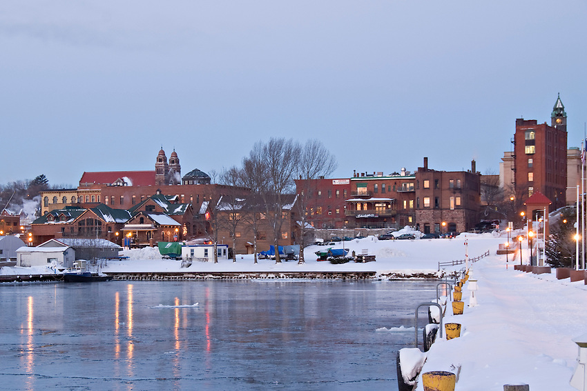 Downtown Marquette Michigan in winter.