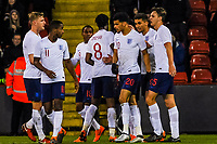 England celebrate during the International Euro U21 Qualification match between England U21 and Ukraine U21 at Bramall Lane, Sheffield, England on 27 March 2018. Photo by Stephen Buckley / PRiME Media Images.