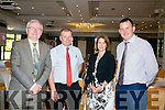 Tralee Chamber Alliance and the Rose of Tralee International Festival Business Networking Breakfast at the Rose Hotel on Friday. Pictured l-r  Oliver Murphy, Gerry Enright, Bank of Ireland, Ann Looney, IT, Tralee and Tim Daly, IT, Tralee.
