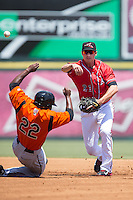Blake Miller (21) of the Richmond Flying Squirrels makes a throw to first base as Quincy Latimore (22) of the Bowie Baysox attempts to break up the double play at The Diamond on May 24, 2015 in Richmond, Virginia.  The Flying Squirrels defeated the Baysox 5-2.  (Brian Westerholt/Four Seam Images)