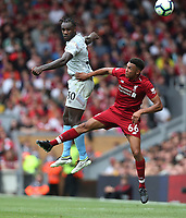 West Ham United's Michail Antonio and Liverpool's Trent Alexander-Arnold<br /> <br /> Photographer Rob Newell/CameraSport<br /> <br /> The Premier League - Liverpool v West Ham United - Sunday August 12th 2018 - Anfield - Liverpool<br /> <br /> World Copyright &copy; 2018 CameraSport. All rights reserved. 43 Linden Ave. Countesthorpe. Leicester. England. LE8 5PG - Tel: +44 (0) 116 277 4147 - admin@camerasport.com - www.camerasport.com