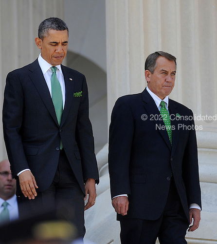 United States President Barack Obama and Speaker of the U.S. House John Boehner (Republican of Ohio) depart the U.S. Capitol on the U.S. House steps after the Friends of Ireland Luncheon in the Rayburn Room March 19, 2013 in Washington, DC. <br /> Credit: Olivier Douliery / Pool via CNP