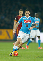 Napoli's Marek Hamsik  controls the ball during the  italian serie a soccer match,between SSC Napoli and AS Roma       at  the San  Paolo   stadium in Naples  Italy ,December 13, 2015