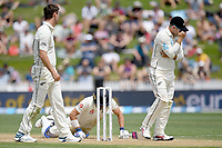 1st December 2019, Hamilton, New Zealand;  Rory Burns dives in to make his crease and Blackcaps miss a chance. International test match cricket, New Zealand versus England at Seddon Park, Hamilton, New Zealand. Sunday 1 December 2019.