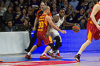 Real Madrid´s Kevin Rivers and Galatasaray´s Arroyo during 2014-15 Euroleague Basketball match between Real Madrid and Galatasaray at Palacio de los Deportes stadium in Madrid, Spain. January 08, 2015. (ALTERPHOTOS/Luis Fernandez) /NortePhoto /NortePhoto.com