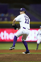 Winston-Salem Dash relief pitcher Danny Dopico (22) in action against the Myrtle Beach Pelicans at BB&T Ballpark on August 6, 2018 in Winston-Salem, North Carolina. The Dash defeated the Pelicans 6-3. (Brian Westerholt/Four Seam Images)