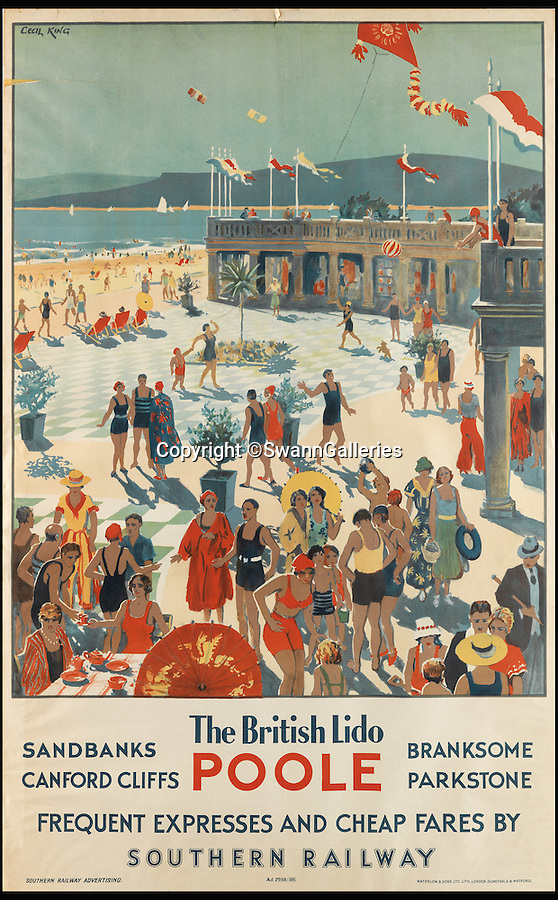 BNPS.co.uk (01202 558833)<br /> Pic: SwannGalleries/BNPS<br /> <br /> Exclusive Sandbanks in the 1930's...<br /> <br /> Travel posters opening a window into British seaside holidays of the past have emerged at auction. <br /> <br /> The selection of images, which were displayed at railway stations in the early 20th century, are among 200 being sold in the USA next month and expected to fetch hundreds of thousands of pounds. <br /> <br /> They feature paintings from prominent artists of the time and show a sharp contrast to the styles of today. <br /> <br /> The posters are being auctioned by Swann Galleries in New York on October 27.