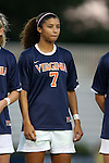 26 September 2013: Virginia's Gloria Douglas. The Duke University Blue Devils hosted the University of Virginia Cavaliers at Koskinen Stadium in Durham, NC in a 2013 NCAA Division I Women's Soccer match. Virginia won the game 3-2.