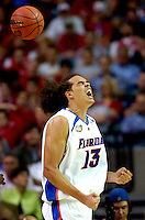 NCAA -- Atlanta -  Final Four --Gators Joakim Noah reacts to a play against UCLA in the second half of the Final Four game Saturday held at the Georgia Dome in Atlanta Georgia. Colin Hackley / Tampa Tribune.