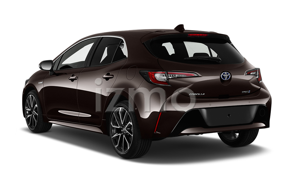 Car pictures of rear three quarter view of 2019 Toyota Corolla-Hybrid Premium 5 Door Hatchback Angular Rear