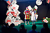 Southbank Centre's Imagine Children's Festival <br /> at the Royal Festival Hall, Southbank, London, Great Britain <br /> 13th February 2015 <br /> <br /> <br /> <br /> Children watch Alice's House of Cards <br /> with Evelyn Hoskins and Alice<br /> and Ben Ingles as Knave of Hearts <br /> <br /> <br /> Photograph by Elliott Franks <br /> Image licensed to Elliott Franks Photography Services
