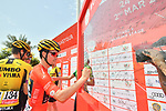 Race leader Primoz Roglic (SLO) Team Jumbo-Visma signs on before the start of Stage 5 of the 2019 UAE Tour, running 181km form Sharjah to Khor Fakkan, Dubai, United Arab Emirates. 28th February 2019.<br /> Picture: LaPresse/Massimo Paolone | Cyclefile<br /> <br /> <br /> All photos usage must carry mandatory copyright credit (&copy; Cyclefile | LaPresse/Massimo Paolone)