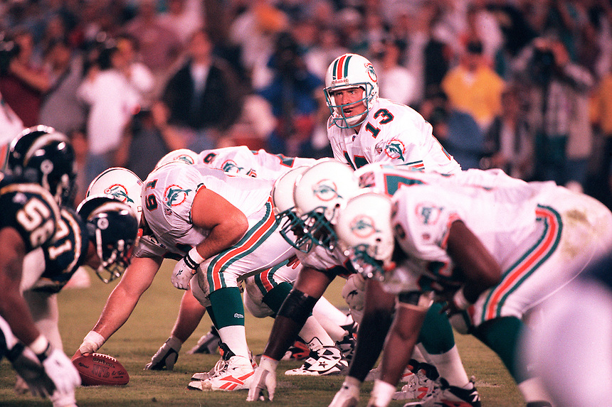 Hall of Fame quarterback Dan Marino of the Miami Dolphins lines up during a game against the San Diego Chargers on November 5, 1999.