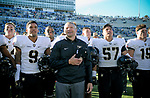 November 4, 2017:  Army West Point head coach, Jeff Monken, enjoys the academy's alma mater with his players following the NCAA Football game between the Army West Point Black Knights and the Air Force Academy Falcons at Falcon Stadium, United States Air Force Academy, Colorado Springs, Colorado.  Army West Point defeats Air Force 21-0.