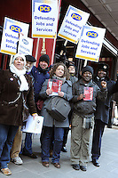 PCS National Strike. 8-3-10 The picket line at the British Library.