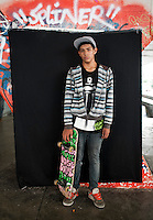 Rogel Baez Andres, 14 years old. Portraits of Adolescents San Cosme skate park, in Mexico City. Release #10