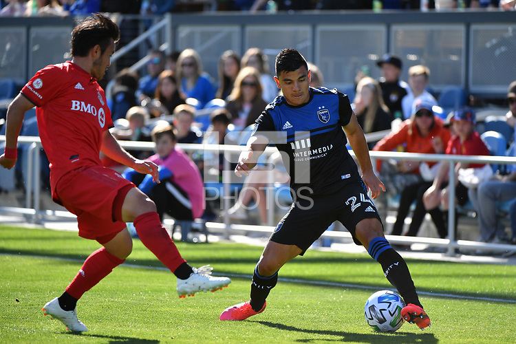 SAN JOSE, CA - FEBRUARY 29: Nick Lima #24 of the San Jose Earthquakes during a game between Toronto FC and San Jose Earthquakes at Earthquakes Stadium on February 29, 2020 in San Jose, California.