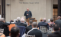 President Jonathan Veitch<br /> Occidental College alumni, staff and other members of the Oxy community gather in support of the football program, March 10, 2018 on Branca Patio.<br /> In January 2018 a 16-member task force of trustees, faculty, students, staff and alumni met to determine the fate of the football program in the wake of the premature end of the 2017 season. The College is moving full speed ahead with preparations for the 2018 season, led by the Football Action Team.<br /> (Photo by Marc Campos, Occidental College Photographer)