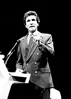 September 11,1985 File Photo - Guy Bertrand<br /> take part in a debate between all candidates in the Parti Quebecois leadership race which was eventually won by Pierre-Marc Johnson
