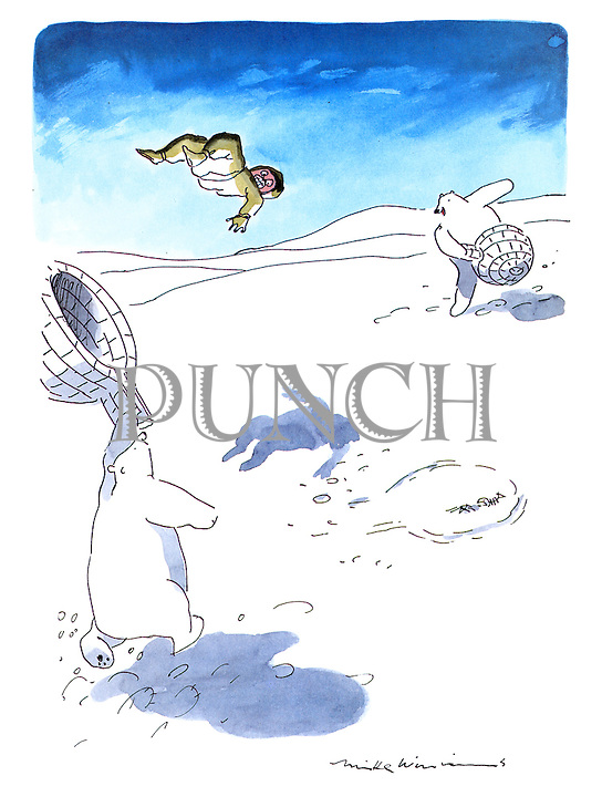(Polar bears play tennis using igloos as raquets and an Eskimo as a ball)
