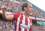 Diego Roberto Godin Leal of Atletico de Madrid celebrates with teammate Saul Niguez Esclapez during their La Liga match between Atletico de Madrid and Sevilla FC at the Estadio Vicente Calderon on 19 March 2017 in Madrid, Spain. Photo by Diego Gonzalez Souto / Power Sport Images