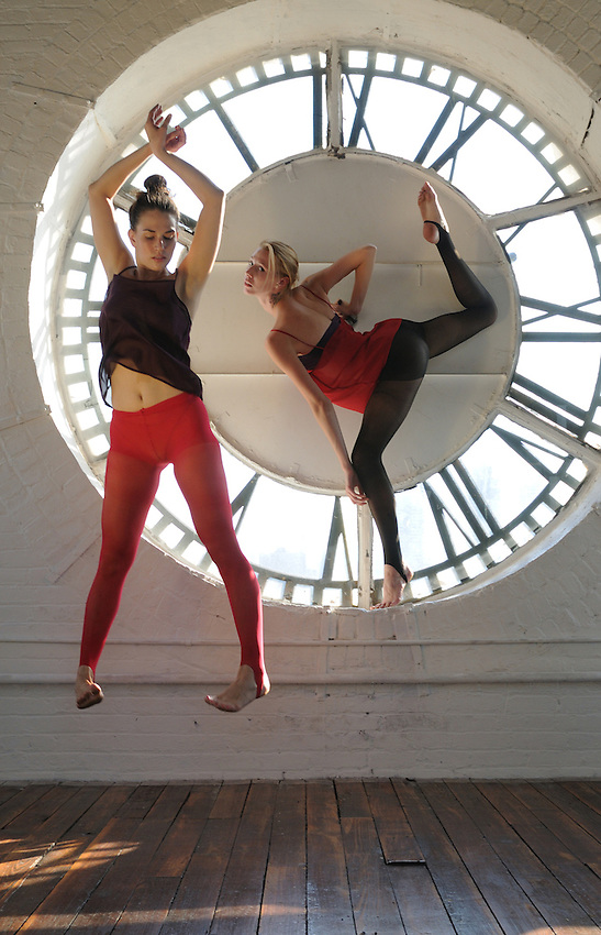 Gregory Holmgren Photographer, NYC dance, movement project with model, dancers Allison Jones and Julie Justine at The ClockTower, Bronx, New York, New York, September 12, 2012.