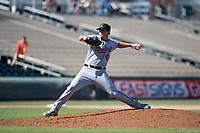 Salt River Rafters relief pitcher Ben Braymer (43), of the Washington Nationals organization, delivers a pitch during an Arizona Fall League game against the Surprise Saguaros on October 9, 2018 at Surprise Stadium in Surprise, Arizona. The Rafters defeated the Saguaros 10-8. (Zachary Lucy/Four Seam Images)