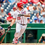 1 August 2018: Washington Nationals first baseman Matt Adams at bat against the New York Mets at Nationals Park in Washington, DC. The Nationals defeated the Mets 5-3 to sweep the 2-game weekday series. Mandatory Credit: Ed Wolfstein Photo *** RAW (NEF) Image File Available ***
