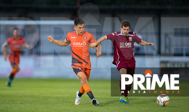 Luke O'Nien of Wycombe Wanderers during the 2018/19 Pre Season Friendly match between Chesham United and Wycombe Wanderers at the Meadow , Chesham, England on 24 July 2018. Photo by Andy Rowland.