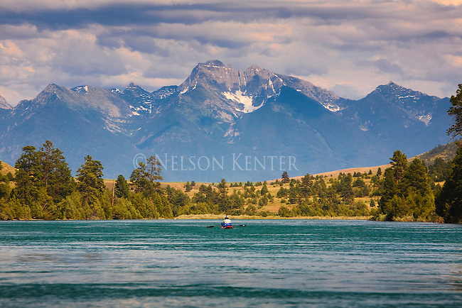 Spectacular scenery along he Flathead River in western Montana includes the Mission Mountains across the valley to the east