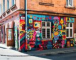 Kraków, 2018.04.12. Grafitti na rogu ulicy Józefa i ulicy Nowej na Krakowskim Kazimierzu.