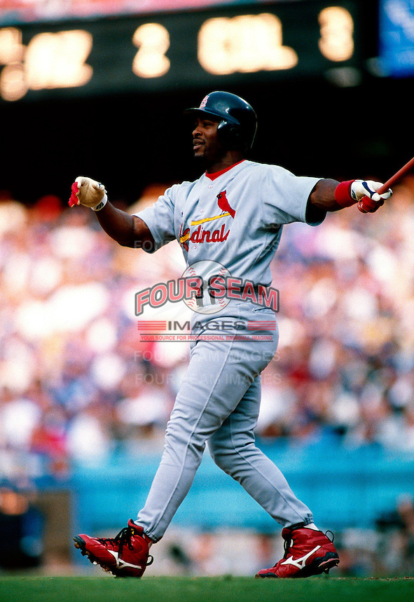 Ron Gant of the St. Louis Cardinals participates in a Major League Baseball game at Dodger Stadium during the 1998 season in Los Angeles, California. (Larry Goren/Four Seam Images)