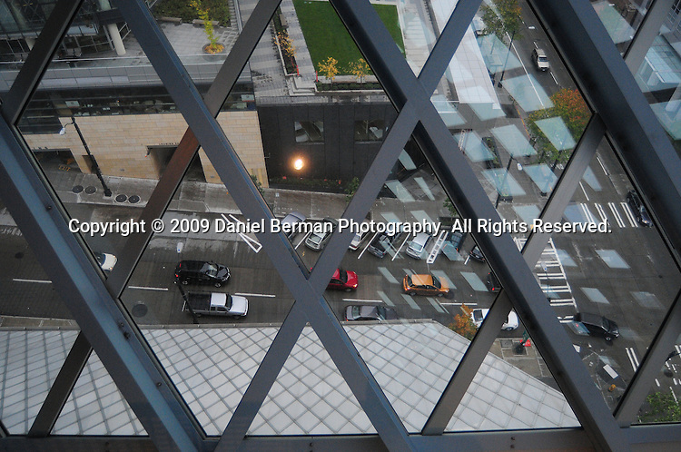 A view of the street as seen from the sixth floor. The 11-story building opened in 2004, and was designed by Rem Koolhaas. Photo by Daniel Berman/www.bermanphotos.com