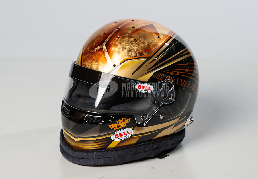 Feb 6, 2019; Pomona, CA, USA; Detailed view of the helmet of NHRA top fuel driver Clay Millican during NHRA Media Day at the NHRA Museum. Mandatory Credit: Mark J. Rebilas-USA TODAY Sports