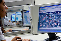Belo Horizonte_MG, Brasil...Sala de monitoramento de uma empresa especializada em monitoramento de veiculos via satelite...Monitoring room, this company that specializes in monitoring vehicles with satellite...Foto: LEO DRUMOND /  NITRO
