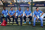 15 July 2015: Cuba head coach Raul Gonzalez Triana (CUB) (right) with his staff (from right): Darien Hanssel Diaz Perez, Pablo Aloma Mark, Walter Benitez, and Fidel Salazar. The Cuba Men's National Team played the Guatemala Men's National Team at Bank of America Stadium in Charlotte, NC in a 2015 CONCACAF Gold Cup Group C match. Cuba won the game 1-0 and advanced to the quarterfinals.