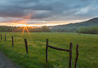 Great Smoky Mountains National Park, Tennessee:<br /> Evening sunburst and clearing storm in Cades Cove, early spring