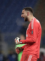 Football Soccer: Tim Cup semi-final second Leg, SS Lazio vs AC Milan, Stadio Olimpico, Rome, Italy, February 28, 2018.<br /> Milan's goalkeeper Gianluigi Donnarumma celebrates after saving a penalty during the shootout of the Tim Cup semi-final football match between SS Lazio vs AC Milan, at Rome's Olympic stadium, February 28, 2018.<br /> <br /> UPDATE IMAGES PRESS/Isabella Bonotto
